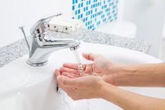 Hygiene. Cleaning Hands with water. Washing hands on sink. Hygiene. Cleaning Hands with water. Washing hands on sink royalty free stock photography