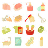 Hygiene cleaning icons set, cartoon style. Hygiene cleaning icons set. Flat illustration of 16 hygiene cleaning vector icons for web royalty free illustration