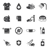 Hygiene and Cleaning icons set Stock Image