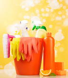 Hygiene cleanser in bottles. With brush and gloves with sponge Stock Images