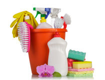 Hygiene cleanser in bottles. With brush and gloves with sponge on white background Royalty Free Stock Photo