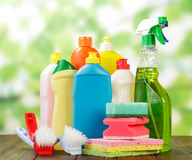 Hygiene cleanser in bottles. With brushes and sponges Royalty Free Stock Image