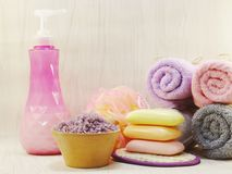 Spa accessories with Shampoo soap and shower cream bathroom products. Hygiene cleansing spa accessories with Shampoo soap and shower cream bathroom products Royalty Free Stock Photos