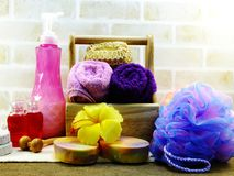 Spa accessories with Shampoo soap and shower cream bathroom products. Hygiene cleansing spa accessories with Shampoo soap and shower cream bathroom products Royalty Free Stock Photography