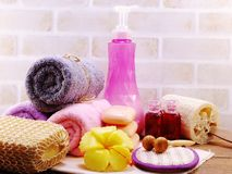 Spa accessories with Shampoo soap and shower cream bathroom products. Hygiene cleansing spa accessories with Shampoo soap and shower cream bathroom products Stock Photos