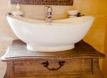 Hygiene. Closeup of sink. Retro batroom. Royalty Free Stock Photos