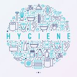 Hygiene concept in circle with thin line icons royalty free illustration