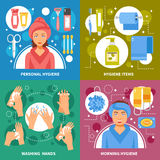 Hygiene Concept 4 Flat Icons Square Royalty Free Stock Image