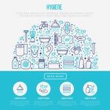Hygiene concept in half circle royalty free illustration