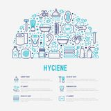 Hygiene concept in half circle with thin line icon royalty free illustration