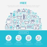 Hygiene concept in half circle. With thin line icons: hand soap, shower, bathtub, toothpaste, razor, shaving brush, sanitary napkin, comb, ball deodorant, mouth royalty free illustration