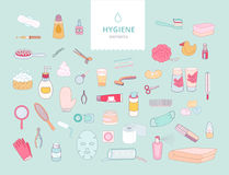 Hygiene elements on green background Royalty Free Stock Images