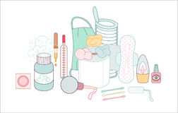 Hygiene elements groups Royalty Free Stock Photo