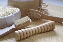 Hygiene equipment. Wooden hygiene equipment Stock Photography