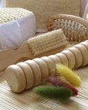 Hygiene equipment. Wooden hygiene equipment Royalty Free Stock Image
