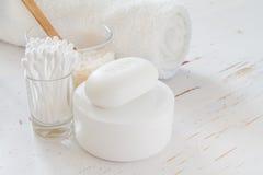Hygiene essentials on white background Stock Photo