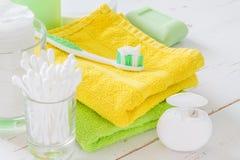 Hygiene essentials on white background Stock Image