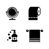 Hygiene fight. Simple Related Vector Icons. Set for Video, Mobile Apps, Web Sites, Print Projects and Your Design. Black Flat Illustration on White Background Stock Images