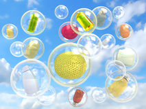 Hygiene flying in soap bubbles concept. Of purity and self-care Stock Images