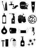 Hygiene health icons set. Hygiene health  icons set in black Royalty Free Stock Photo