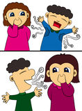 Hygiene humor. A set of two funny cartoon illustration about hygiene stock illustration