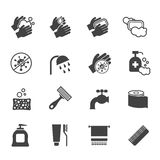 Hygiene icon set. Vector black icons of washing hands and anti bacterial soap Stock Photography
