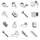 Hygiene Icons Black Stock Photography