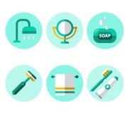 Hygiene Icons Flat Set Stock Images