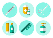 Hygiene Icons Flat Set Royalty Free Stock Photography