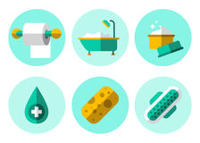 Hygiene Icons Flat Set Stock Photography