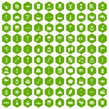100 hygiene icons hexagon green. 100 hygiene icons set in green hexagon isolated vector illustration Stock Images