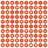 100 hygiene icons hexagon orange. 100 hygiene icons set in orange hexagon isolated vector illustration Royalty Free Illustration