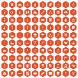 100 hygiene icons hexagon orange. 100 hygiene icons set in orange hexagon isolated vector illustration Royalty Free Stock Photo