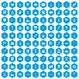 100 hygiene icons set blue. 100 hygiene icons set in blue hexagon isolated vector illustration vector illustration