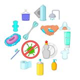 Hygiene icons set, cartoon style. Hygiene icons set. Cartoon illustration of 16 hygiene items vector icons for web vector illustration
