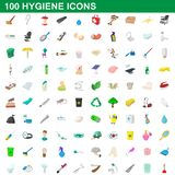 100 hygiene icons set, cartoon style. 100 hygiene icons set in cartoon style for any design illustration stock illustration