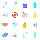 Hygiene icons set, cartoon style Royalty Free Stock Image