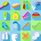 Hygiene icons set, flat style Royalty Free Stock Images