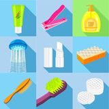 Hygiene icons set, flat style. Hygiene icons set. Flat set of 9 hygiene vector icons for web with long shadow Stock Photography