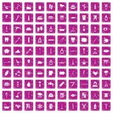 100 hygiene icons set grunge pink. 100 hygiene icons set in grunge style pink color isolated on white background vector illustration stock illustration