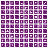 100 hygiene icons set grunge purple. 100 hygiene icons set in grunge style purple color isolated on white background vector illustration Royalty Free Stock Photo