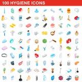 100 hygiene icons set, isometric 3d style. 100 hygiene icons set in isometric 3d style for any design illustration royalty free illustration