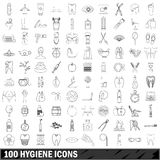 100 hygiene icons set, outline style. 100 hygiene  icons set in outline style for any design vector illustration Stock Image