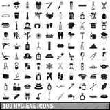 100 hygiene icons set, simple style Stock Images