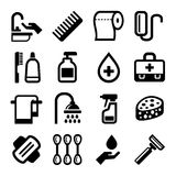Hygiene Icons Set on White Background. Vector Stock Images