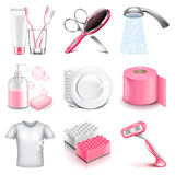Hygiene icons vector set Royalty Free Stock Image