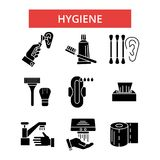 Hygiene illustration, thin line icons, linear flat signs, vector symbols  Royalty Free Stock Photography