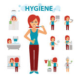 Hygiene infographic elements. Woman is busy, cleanliness, bathing, toilet, laundry, taking a bath, brushing teeth vector illustration