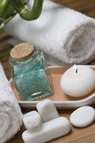 Hygiene items. Some hygiene items on a bamboo mat Stock Image