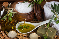 Hygiene items for bath and spa of olive Royalty Free Stock Image